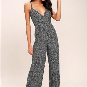 Black and white striped jumpsuit
